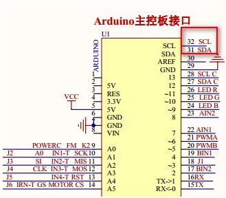 4-2 由电路原理图可以知道相应的连接电路,mpu6050的scl和s