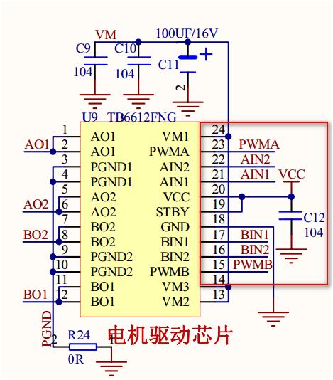 4-2 由电路原理图可知ain1,ain2,pwma,bin1,bin2,pwmb分别接在树莓派